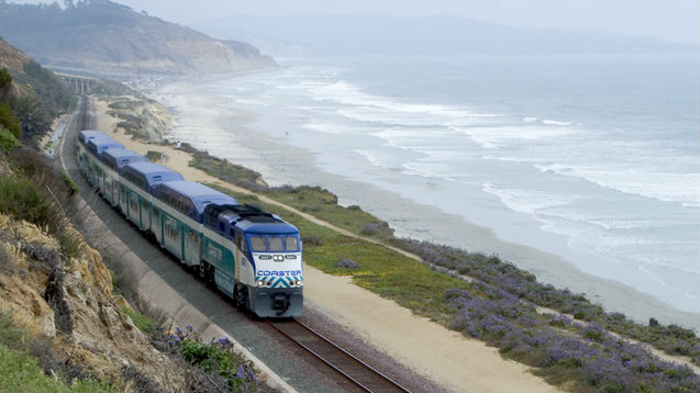A North County Transit District Coaster train heading north from Torrey Pines State Beach. Courtesy NCTD