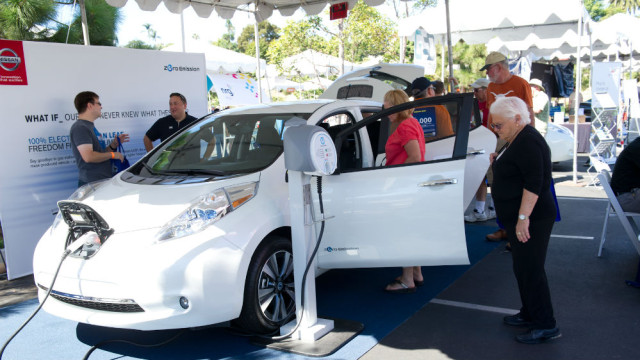 A Nissan LEAF at the 2013 Electric Vehicle Day. Courtesy SDG&E