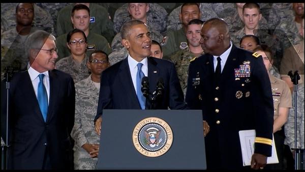 President Barack Obama with Defense Secretary Chuck Hagel and Army Gen. Lloyd J. Austin III, commander of U.S. Central Command. DOD photo
