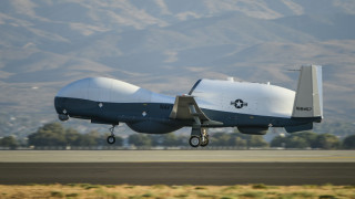 The Navy's MQ-4C Triton takes off from Northrop Grumman's Palmdale facility Wednesday for its cross-country flight to Naval Air Station Patuxent River, MD. Photo by Alan Radecki