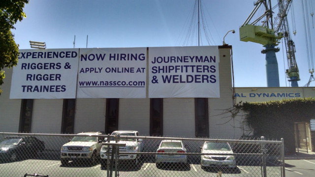 Sign outside General Dynamics NASSCO employment office. Photo  by Chris Jennewein