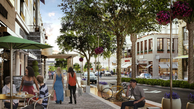Artist's rendering of One Paseo's main street. Courtesy Kilroy Realty