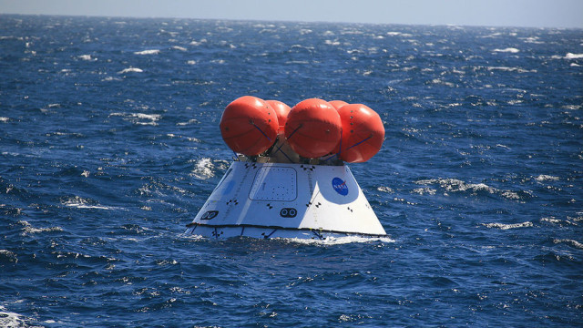 The Orion capsule in the ocean Wednesday off Southern California. NASA photo