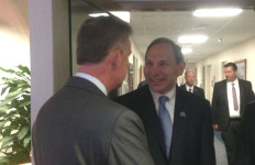 Rep. Scott Peters, left, with Secretary of Veterans Affairs Robert McDonald. Courtesy Peters' office