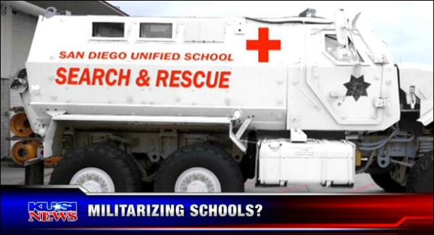 SanDiego Unified's MRAP. Image from KUSI broacast