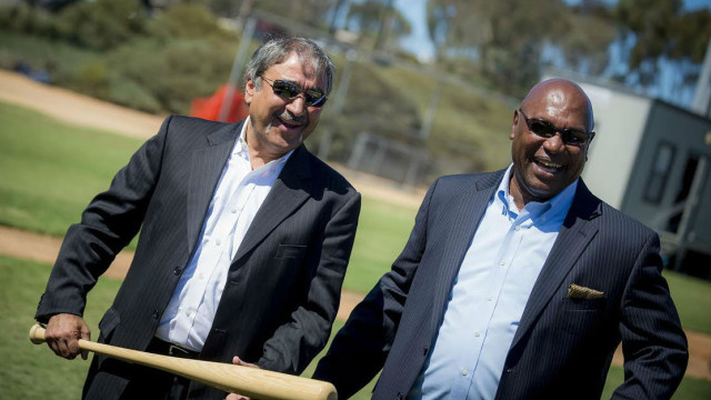 Chancellor Pradeep K. Khosla, left, and Athletics Director Earl W. Edwards at groundbreaking for Triton Ballpark. Photo courtesy UCSD