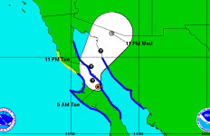 The forecast track of Tropical Storm Odile. Courtesy NOAA