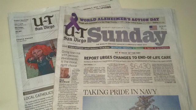 The Sunday, Sept. 21, edition of the U-T San Diego.