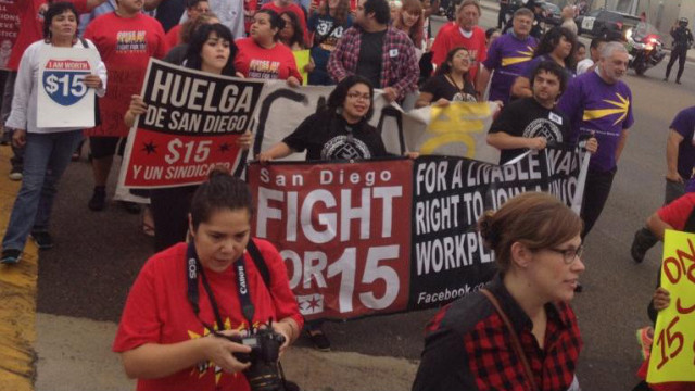 Marchers participate in the fast food strike in City Heights. Photo credit: SDuerksen via Twitter.