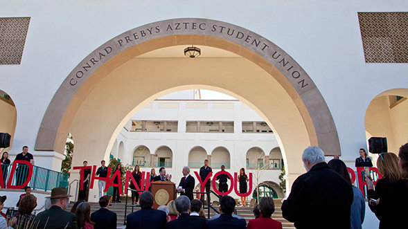 The Prebys Aztec Student Union at San Diego State, where a new fundraising goal of $750 million has been set. Photo credit: newscenter.sdsu.edu