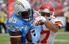 Antonio Gates catches a pass against the Kansas City Chiefs. Courtesy of San Diego Chargers Facebook.