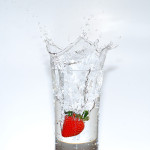 Glass of water, strawberry splash