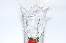 Glass of water, strawberry splash