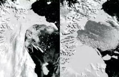 An ice shelf collapses in Antarctica in February 2002. Photos courtesy National Snow and Ice Data Center