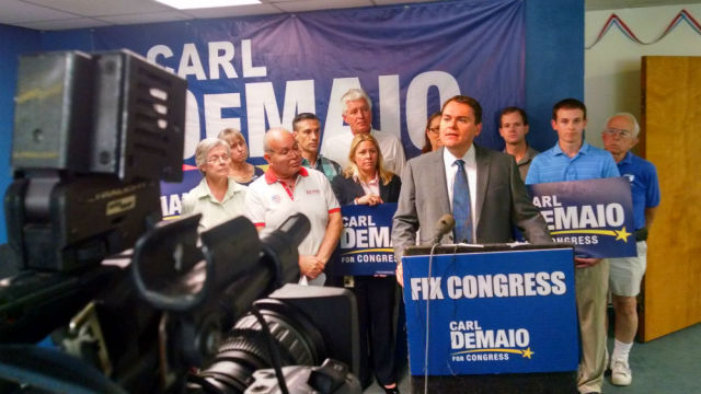 Carl DeMaio discusses TV ads attacking him during a press conference at his campaign headquarters. Photo by Chris Jennewein