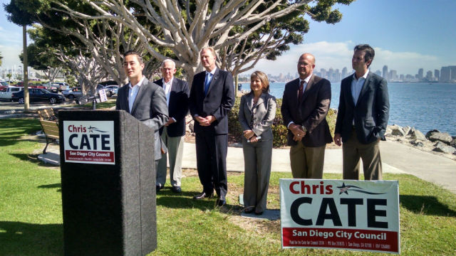 Chris Cate (left), Jerry Sanders, Kevin Faulconer, Lorie Zapf, Scott Sherman and Mark Kersey at Harbor Island. Photo by Chris Jennewein