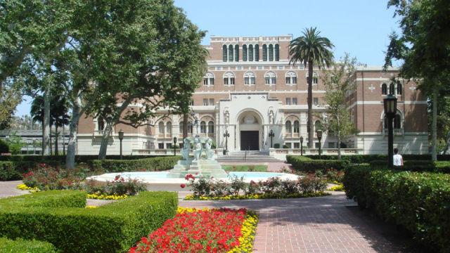 The landmark Doheny Library at the University of Southern California. Photo via Wikimedia Commons