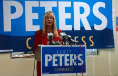 Donna Frye speaks to reporters at Scot Peter's campaign office. Photo by Chris Jennewein