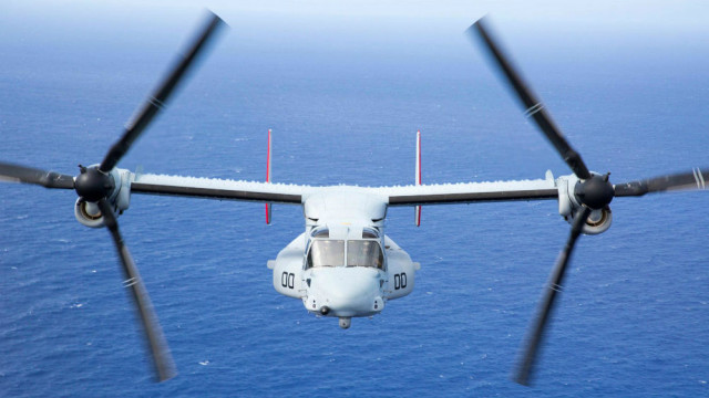 A Marines Corps MV-22 Osprey in flight. Photo courtesy Marines