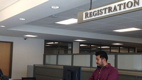 Registration desk at the San Diego County Registrar of Voters. Courtesy County News Center