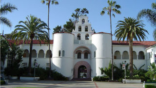 The landmark Hepner Hall at San Diego State University. Photo via Wikimedia Commons