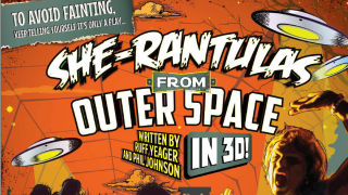 """Poster for """"She-Rantulas from Outer Space — in 3D"""" at Diversionary Theatre."""