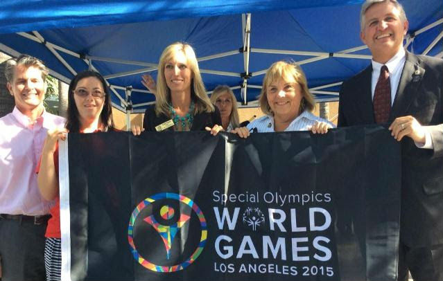 From left, Solana Beach Councilman Mike Nichols, Special Olympics ambassador Lindsey Newman, Encinitas Mayor Kristin Gaspar, Del Mar City Councilwoman Sherryl Parks and San Diego County Supervisor Dave Roberts. Photo courtesy Roberts' office