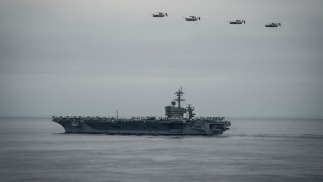 The USS Carl Vinson in the Pacific Ocean. Navy photo
