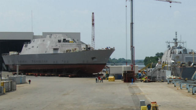 The future USS Detroit (left) under construction in June at Marinette Marine in Wisconsin. Courtesy Marinette Marine