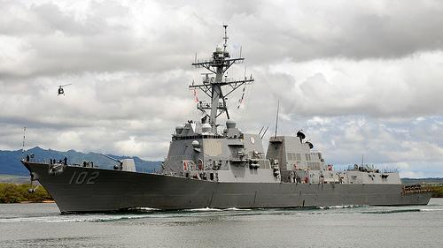 USS Sampson in Pearl Harbor. U.S. Navy photo by Mass Communication Specialist 2nd Class Jon Dasbach