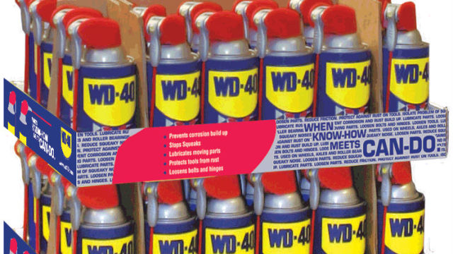 A store display of WD-40 spray oil. Photo courtesy WD-40 Company