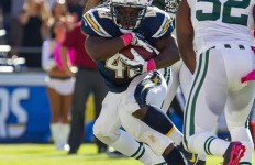 Charger running back Branden Oliver courtesy of Mike Nowak, San Diego Chargers