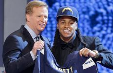 San Diego Chargers rookie corner Jason Verrett with NFL commissioner Roger Goodell after being selected in the 2014 draft. Courtesy of San Diego Chargers Facebook.