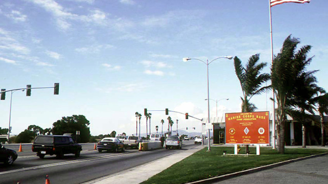 The main gate of Camp Pendleton.  This is the main road for traffic into the base.  This gate has been open and manned by Marines 24  hours a day since 1942. Photo via Wikimedia Commons