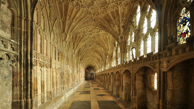 The Cloister of Gloucester Cathedral in England, the film location for Hogwarts. Photo via Wikimedia Commons