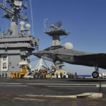 F-35C lands on USS Nimitz