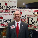 Kevin Beiser with supporters at Golden Hall in downtown San Diego.