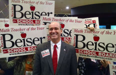 Kevin Beiser with supporters at Golden Hall in downtown San Diego. Photo by Chris Jennewein