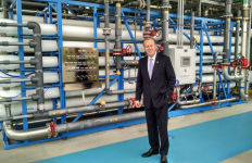 Mayor Kevin Faulconer at the Advanced Water Purification Facility. Photo by Chris Jennewein