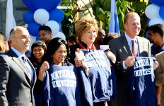 National University President Michael Cunningham (left), San Diego Council members Myrtle Cole and Marti Emerald, and Mayor Kevin L. Faulconer at Friday's announcement. Photo courtesy National University