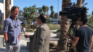 Imperial Beach mayoral candidate Serge Dedina interviewed outside the Registrar of Voters office. Courtesy Dedina campaign