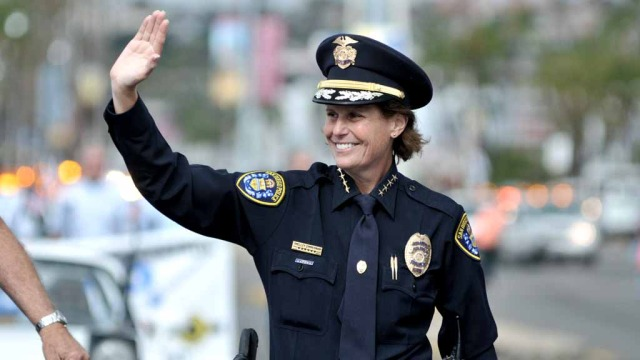 San Diego Police Chief Shelley Zimmerman  at Veterans Day parade. Photo by Chris Stone
