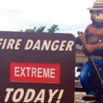 A fire danger sign