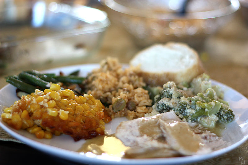 a traditional thanksgiving meal with turkey and stuffing photo by marcus quigmire via wikimedia commons