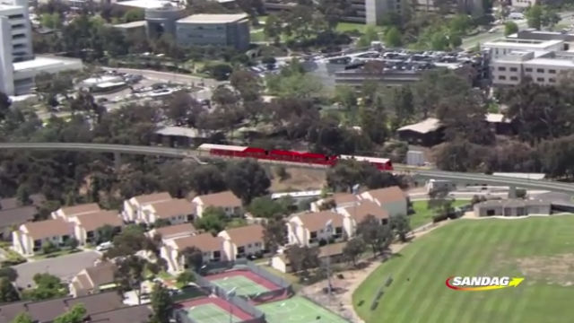 Rendering shows the extension of the San Diego Trolley Blue Line in University City. Courtesy SANDAG