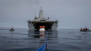 The USS Anchorage testing recovery of the Orion spacecraft. Navy photo