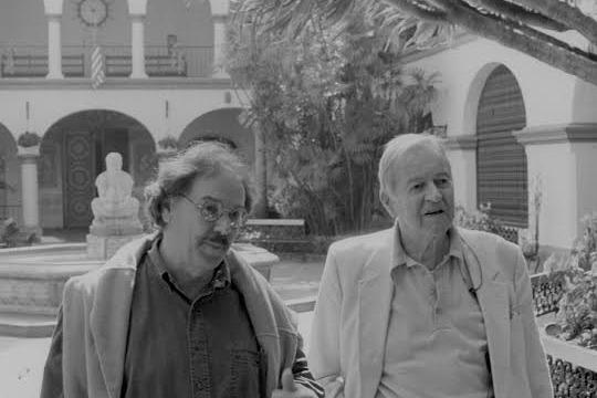 Jack Ofield and Lionel Van Deerlin on location in Balboa Park. Photo via Jim Orr