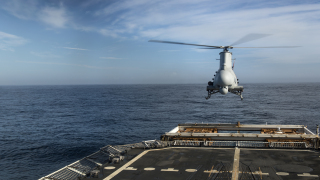 The MQ-8B Fire Scout performed precision take-off and landings during a demonstration on the Coast Guard Cutter, USCGC Bertholf near Los Angeles. Photo credit: Petty Officer 2nd Class Luke Clayton/U.S. Coast Guard