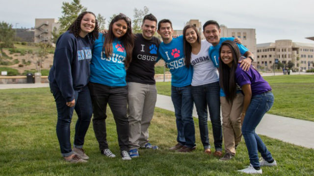Students on the campus of Cal State San Marcos. Courtesy CSUSM