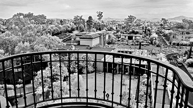 The view to the east from the California Tower. Bland & white photo by Joe Nalven